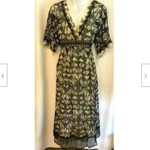 Jonathan Martin Dress Black Ivory Floral Sheer